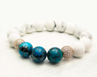 Congo Chrysocolla Pave Bead Bracelet / Snow White Howlite Sterling Silver CZ Hand Set Pave / deep sea blue / pave bling / bright ocean blue