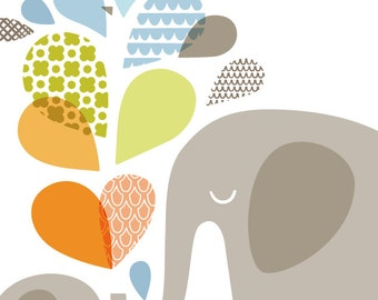 "SALE! 1/3 OFF. 16X20"" elephant mommy & baby portrait format giclee print on fine art paper. light blue, soft orange, sage green, gray."