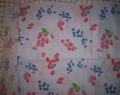 Vintage Sheeting: Vintage Sheet Fabric Printed with Berries on Pale Blue