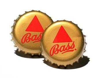 Gold Bass Beer Bottle Cap Cufflinks Cuff Links