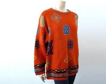 ORANGE French Vintage Orange Oversize Knit Blouse