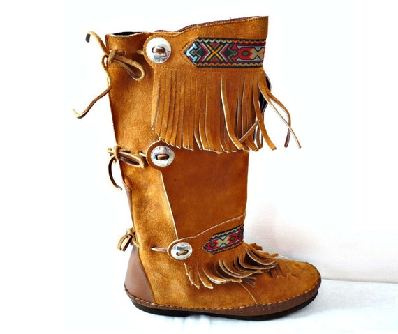 lulu vintage brown suede indian boots