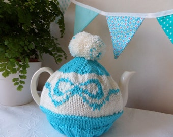 Tea Cosy  -  SALE Turquoise Blue and cream with bobble fits a 6-8 cup pot was 23 dollars