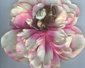 Deluxe Brunette Flower Fairy with Pink and Cream Petals