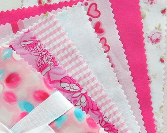 Pink Patchwork Fabric Bundle, Pink Patchwork Pack, Charm Pack, 30 x 5 inch squares of pink cotton fabric for patchwork and quilting
