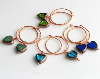 Heart Hoop Earrings for Galentine's Day Gifting, Four Pairs of Handmade Czech Glass Heart Dangles, Original Gifts for BFF Girlfriends Sister