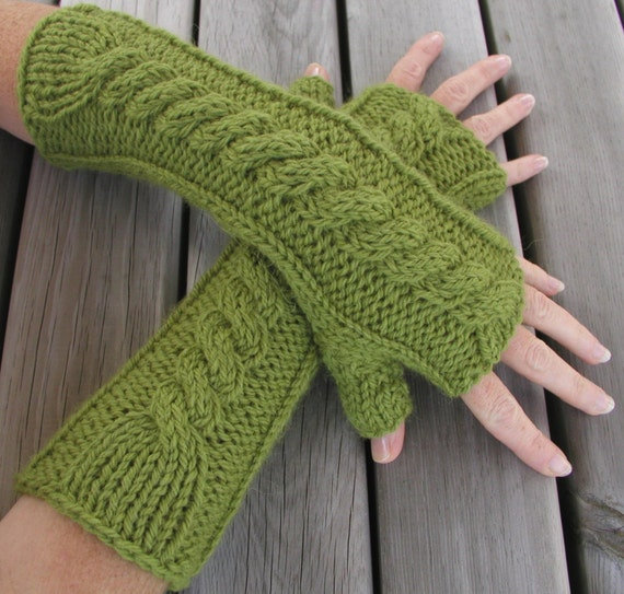 Items similar to Hand and Arm Warmer Fingerless Gloves Knitting Pattern on Etsy