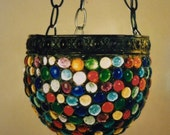 The Happy Harlequin - Stained Glass Hanging Round Mosaic Candle Holder Lamp Hand Crafted