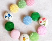 Fabric Buttons - The Spring Is Here - 12 Small Pink, Yellow, Blue and Green Floral Fabric Covered Buttons
