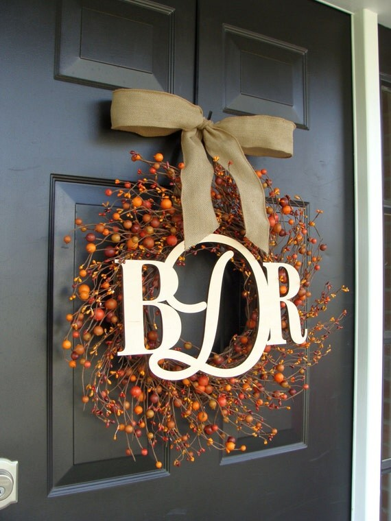 Three Letter Monogram Wreath- Monogram Berry Wreath with Burlap Ribbon- Fall Wedding Decor- 18-24 inch Sizes Available Door Wreath