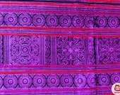 Hmong Fabric, purple, violet, candle, hmong textile, Lisu Fabric, crafting, hill tribe, embroidered, skirt, craft supplies, craft, fabric