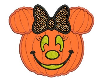 Applique Minnie Mouse Pumpkin Jack o Lantern Machine Embroidery Designs 4X4 and 5X7 Included - Instant Download Sale