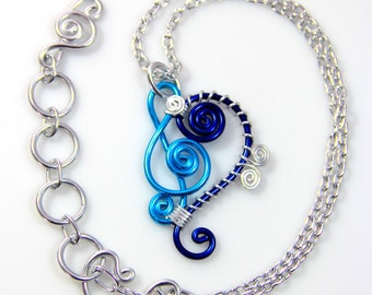 Treble and Bass Clef Pendant Necklace