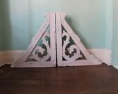 HUGE Antique Architectual Corbel Bracket Pair Chippy White Shabby Chic Decorator Item