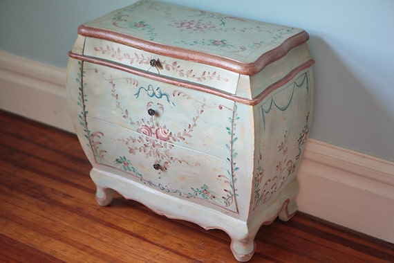 painted nightstand shabby chic roses blue by. Black Bedroom Furniture Sets. Home Design Ideas