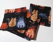 Reversible Fabric Coaster Set - Cats on Black - PruittCreations