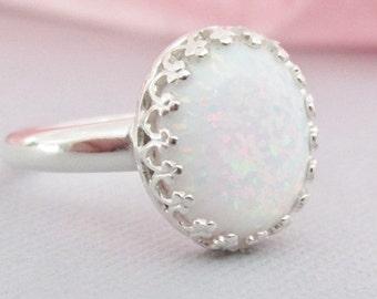Sterling Silver Opal Ring, White Opal Rings, Opal Jewelry, October Birthstone, Opal Gemstones, Birthstone Ring, Birthday Jewelry, Lab Opals