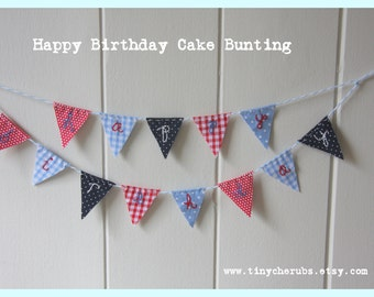 Extra Tiny Cake Bunting Red Blue HAPPY BIRTHDAY Fabric Cake Topper for Weddings Birthday Party and Baby Showers Custom made to order