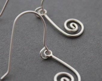 Sterling Spiral Earrings, Spiral Hooks, Drop earrings, Handmade Dangles