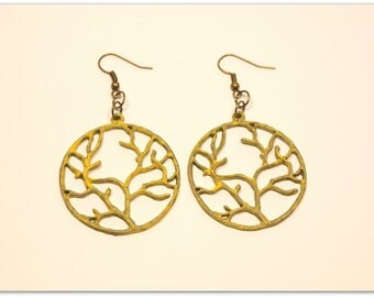 Tree Of Life Boho Style Earrings, Vintage Style, Yellow Hand Painted Patina
