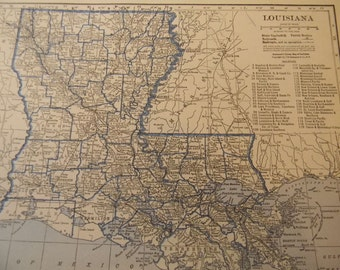 1934 State Map Louisiana - Vintage Antique Map Great for Framing