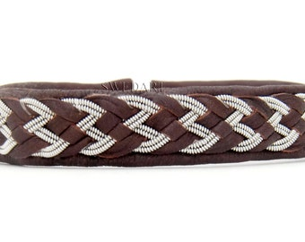 SwedArt B88 Wings Steven Tyler  Sami Reindeer Leather Bracelet w Antler Button Dark Brown X-LARGE