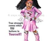 True Strength African American Super Girl Print 8x10