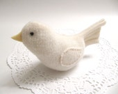 Gift for Teacher / Soft White Bird Soft Sculpture Plush Handmade from Felted Wool Sweaters No733