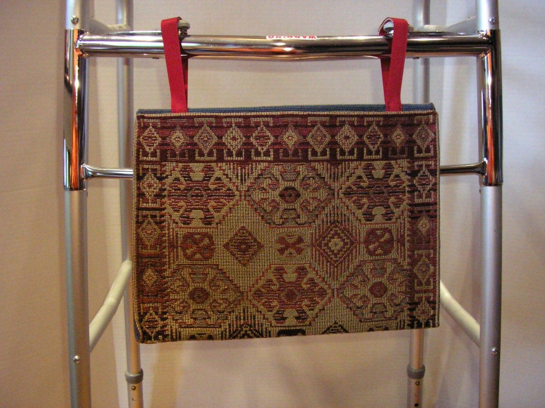 Walker Bag Tote Aztec Style Tan Dark Red Tapestry