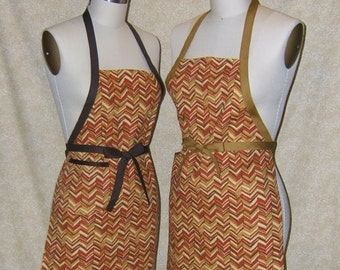 Chevron Honey Amber Chef Apron All Cotton Canvas front patch pocket cell phone pocket Brown or tobacco tie