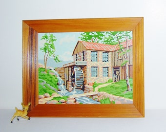 Vintage Paint By Number Mill with Landscape
