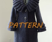 Navy Tailored Knitted Super Bulky Wool Coat. PDF Pattern.
