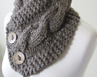 """Chunky Cable Neck Warmer Knit Thick Barley Scarf Wool Blend 6"""" x 25"""" - Cocconut Shell Buttons Ready to Ship - Direct Checkout"""