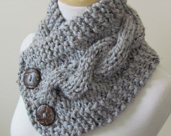 "Knit Neck Warmer, Cable Knit Scarf,  Chunky Warm Winter Scarf in Grey Marble 6"" x 25"" Coconut Shell Buttons Ready to Ship - Direct Checkout"
