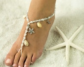 Starfish and Sea Shell, Barefoot Sandals, Foot Jewelry for Beach Bride and Bridesmaids, Wedding Sandals. *FREE SHIPPING* Made in ALL Colors!