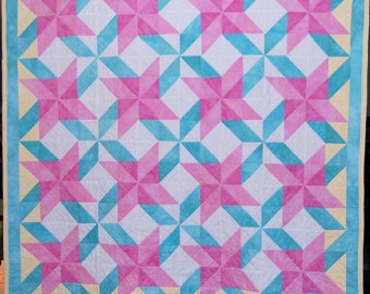 Handmade Bright and Colorful Baby Quilt, Baby Girl Quilt, Handmade Baby Girl Quilt, Beautiful Handmade Baby Quilt