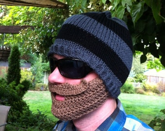 Black and Gray Striped Beard Beanie - Ships Free