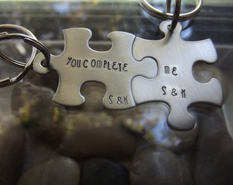 You Complete ME two piece puzzle keychain set, Couples Gift, BFF Gift, Anniversary Gift, Partners Gift