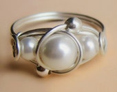 Fancy Sterling Silver Wire Wrapped White Swarovski Pearl Ring