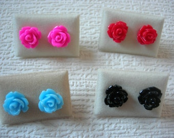 Small Vintage Style Rose Flower Surgical Steel Stud Earrings Black Blue Pink Red