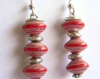 Paper Bead Jewelry - Earrings Tiny Saucers - #1257 - Valentine's
