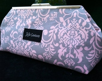 The Olive Clutch by JoJo Couture, in Pink Grey Damask