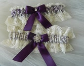 Wedding Garter Set,Bridal Garter Set, Ivory Lace Garter Set,Eggplant Garter