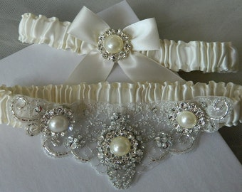 Wedding Garter Set,Off White Satin Garter,Costume Garter, Garter Set