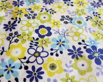 FREE SHIPPING Whimsical Floral Fabric in Blue and Green - Japanese Cotton Fabric (F052) Fat Quarter