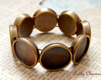 10 Bronze Adjustable Stretch Bracelets with 8 Round Bezels for DIY Jewelry with Matching Glass Cabochons 20mm