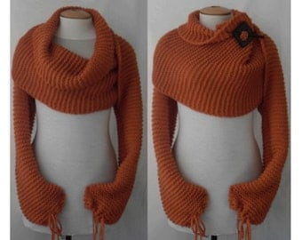 Scarf shawl with sleeves at both ends in dark orange. FREE worldwide shipping