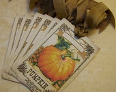Thanksgiving Place Card Tags Thanksgiving Tags Pumpkin Tags Autumn Tags Vintage Style - Set of 6
