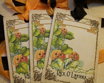 """Jack O"""" Lantern Tags Halloween Tags Halloween Place Cards Vintage Style - Set of 6"""