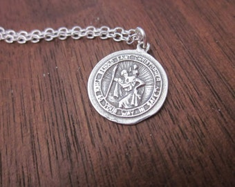 The Sylvia Necklace - Sterling Silver St. Christopher Necklace